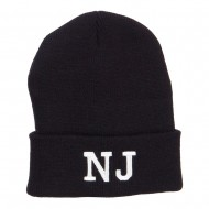 NJ New Jersey State Embroidered Cuff Beanie - Black