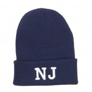 NJ New Jersey State Embroidered Cuff Beanie - Navy