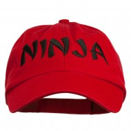 Halloween Ninja Embroidered Low Profile Washed Cap - Red