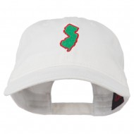 New Jersey State Map Embroidered Washed Cotton Cap - White