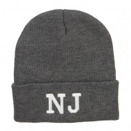 NJ New Jersey State Embroidered Cuff Beanie - Dk Grey