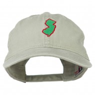 New Jersey State Map Embroidered Washed Cotton Cap - Stone