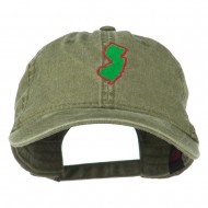 New Jersey State Map Embroidered Washed Cotton Cap - Olive Green