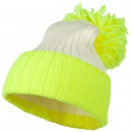 Neon Knit Hat with Pom Pom - Neon Yellow