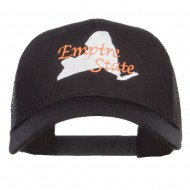 New York Empire State Embroidered Trucker Cap - Black