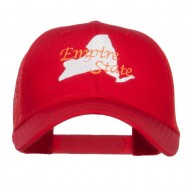 New York Empire State Embroidered Trucker Cap - Red