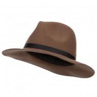 Women's Leather Band Wool Fedora - Brown