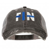 Finland FIN Flag Embroidered Low Profile Cotton Mesh Cap - Black