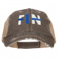 Finland FIN Flag Embroidered Low Profile Cotton Mesh Cap - Brown Khaki