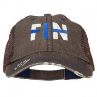 Finland FIN Flag Embroidered Low Profile Cotton Mesh Cap - Brown