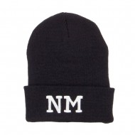 NM New Mexico State Embroidered Long Beanie - Black