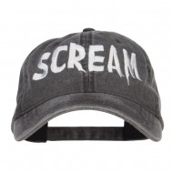 Halloween Scream Embroidered Washed Cap - Black