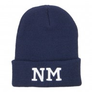 NM New Mexico State Embroidered Long Beanie - Navy
