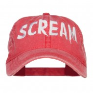 Halloween Scream Embroidered Washed Cap - Red