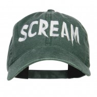Halloween Scream Embroidered Washed Cap - Dk Green
