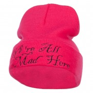 We All Mad Here Embroidered Long Beanie - Magenta