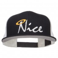 Nice Embroidered Mesh Snapback Cap - Black Black White