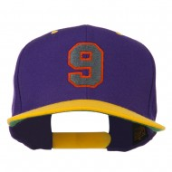 Athletic Number 9 Embroidered Classic Two Tone Cap - Purple Gold