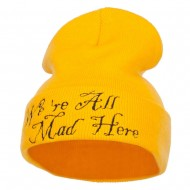 We All Mad Here Embroidered Long Beanie - Yellow