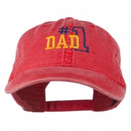 Number 1 Dad Outline Embroidered Washed Cotton Cap - Red