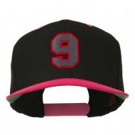 Athletic Number 9 Embroidered Classic Two Tone Cap - Black Pink