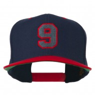 Athletic Number 9 Embroidered Classic Two Tone Cap - Navy Red