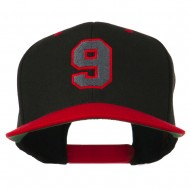 Athletic Number 9 Embroidered Classic Two Tone Cap - Black Red
