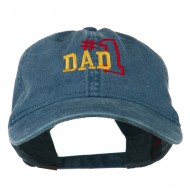 Number 1 Dad Outline Embroidered Washed Cotton Cap - Navy