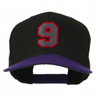 Athletic Number 9 Embroidered Classic Two Tone Cap - Black Purple