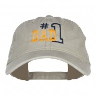 Number 1 Dad Outline Embroidered Washed Cotton Cap - Stone