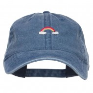 Mini Rainbow Embroidered Washed Cap - Navy