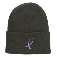 Testicular Cancer Orchid Embroidered Long Beanie - Dk Grey