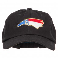 North Carolina State Flag Map Embroidered Unstructured Washed Cap - Black