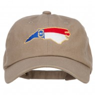 North Carolina State Flag Map Embroidered Unstructured Washed Cap - Khaki