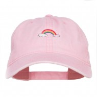 Mini Rainbow Embroidered Washed Cap - Pink