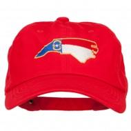 North Carolina State Flag Map Embroidered Unstructured Washed Cap - Red