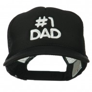 Number 1 DAD Embroidered Youth Foam Mesh Cap - Black