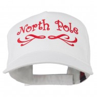 North Pole Christmas Embroidered Cap - White
