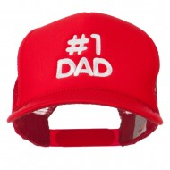 Number 1 DAD Embroidered Youth Foam Mesh Cap - Red