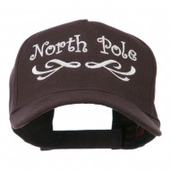 North Pole Christmas Embroidered Cap - Dark Brown