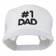 Number 1 DAD Embroidered Youth Foam Mesh Cap - White