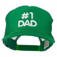 Number 1 DAD Embroidered Youth Foam Mesh Cap - Kelly