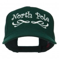 North Pole Christmas Embroidered Cap - Dark Green