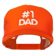 Number 1 DAD Embroidered Youth Foam Mesh Cap - Orange
