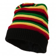 New Rasta Deep Shell Beanie - Black