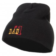 Number 1 Dad Outline Embroidered Short Beanie - Black