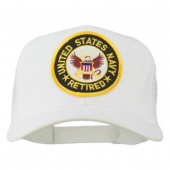 US Navy Retired Circle Patched Mesh Cap - White