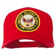 US Navy Retired Circle Patched Mesh Cap - Red