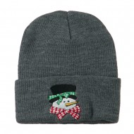 Snowman's Head with Scarf Embroidered Beanie - Grey