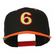 Arial Number 6 Embroidered Classic Two Tone Cap - Neon Orange